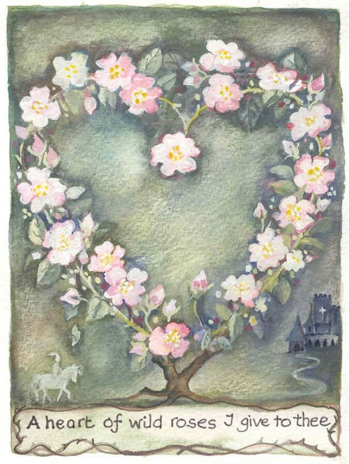 'A Heart of Wild Roses I Give to Thee' Furzedown Gallery Mini Card