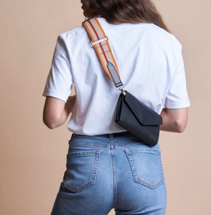 O My Bag Amsterdam - Webbing Strap Red/Orange/Black Leather