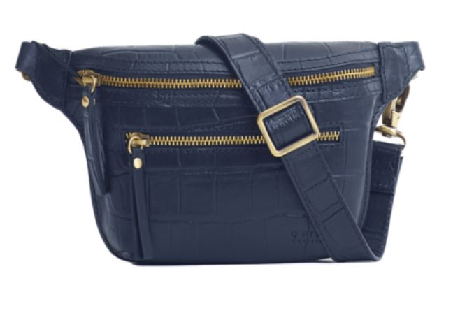 O My Bag - Beck´s Bum Bag Croco Blue, Full Leather Strap