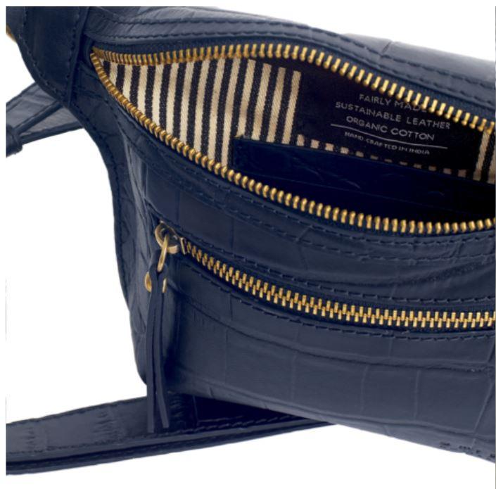 O My Bag - Beck´s Bum Bag Croco Blue, Full Leather Strap
