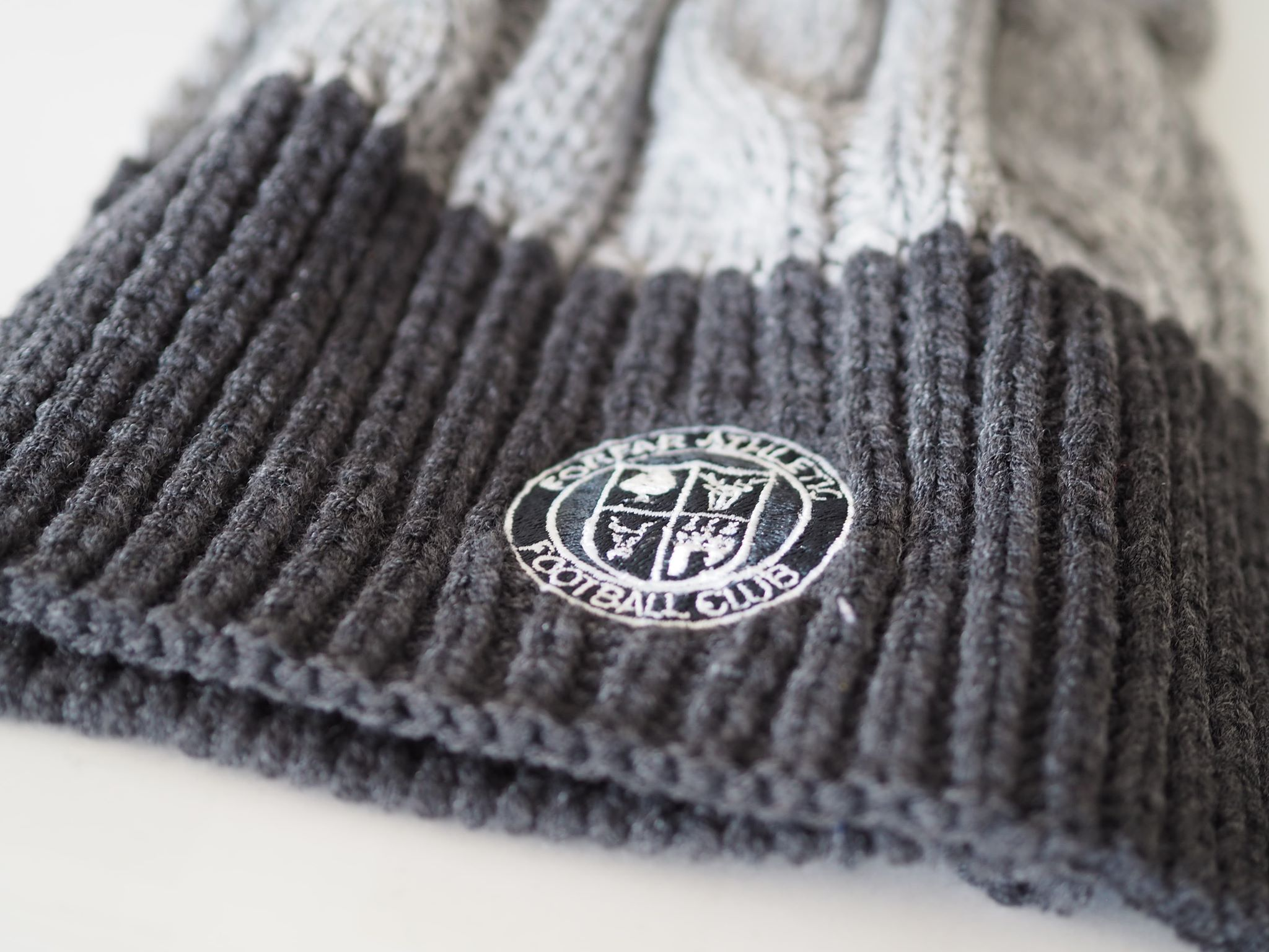 Hats - Two-tone Grey Hat/Scarf