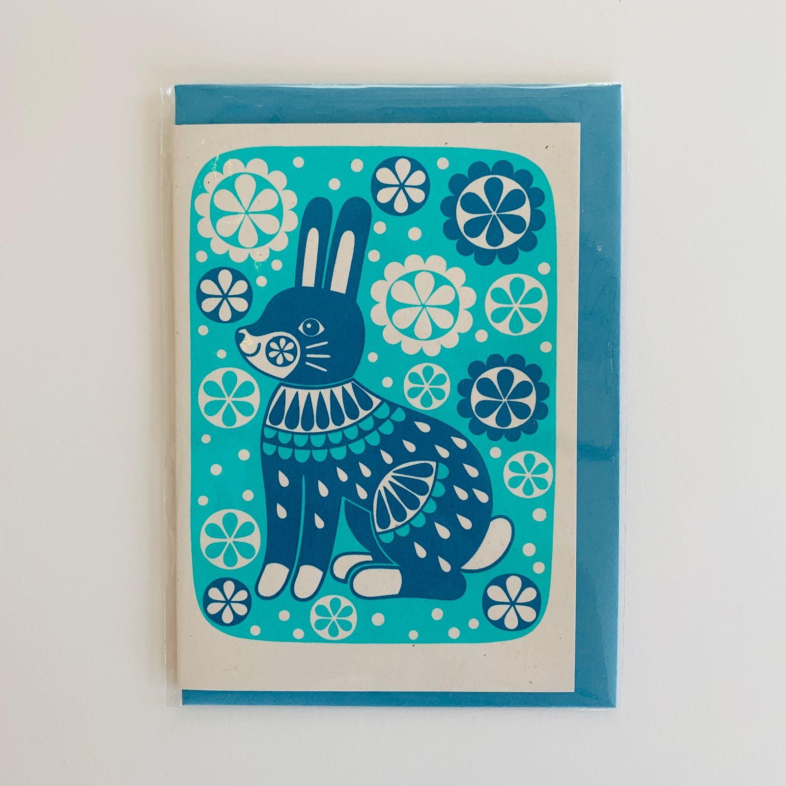 Karoline Rerrie - Bunny Screenprinted Greeting Card
