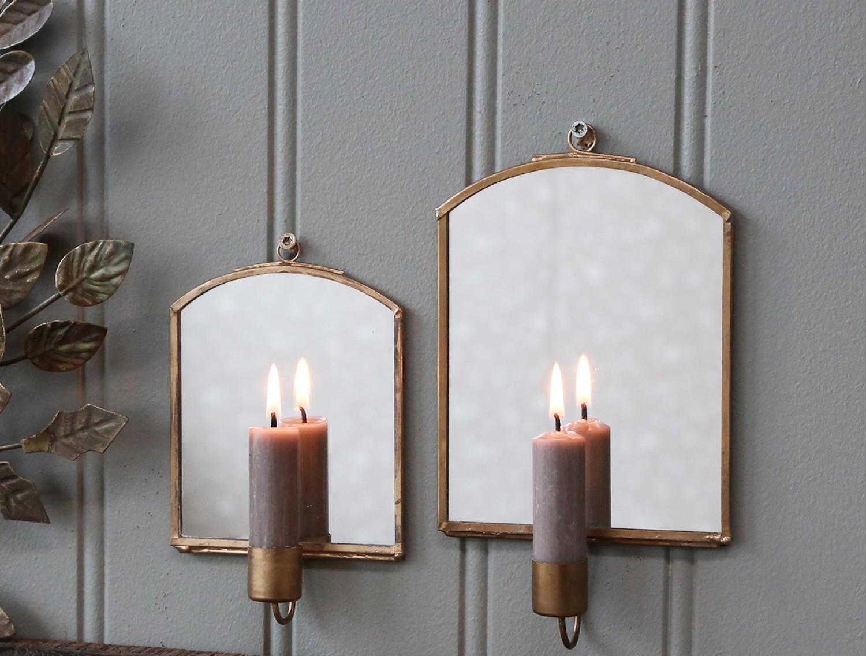 Väggljusstake med spegel - Doris - Stor