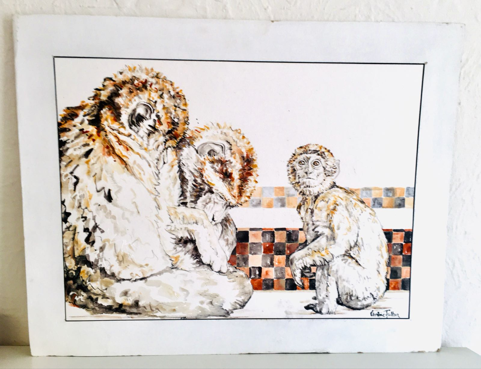 Barbary Macaques with Berber Pattern IV
