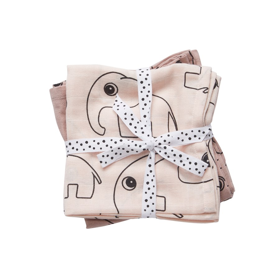 Pucktücher rosa - Swaddle - 2-pack - Contour powder - Done by Deer