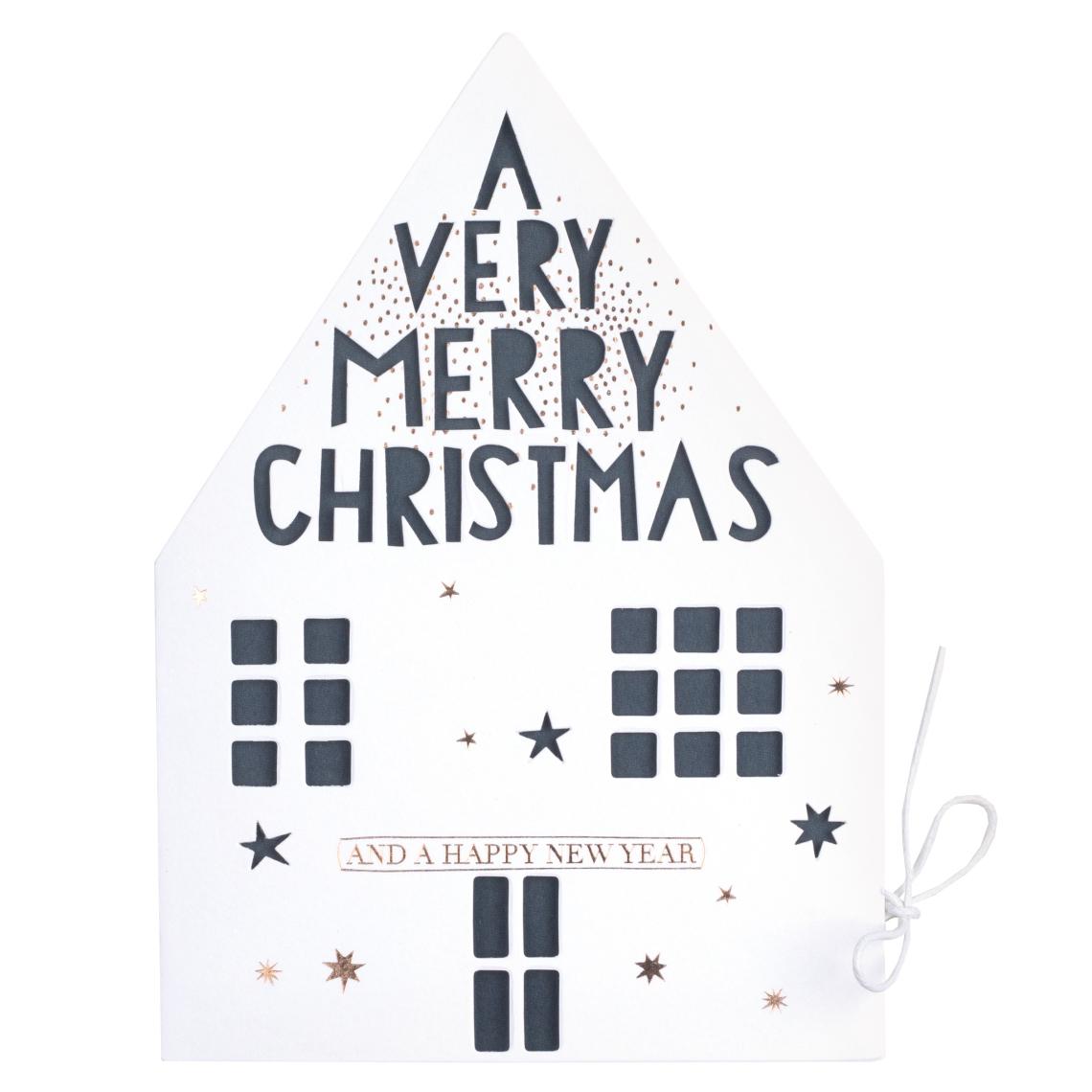"Weihnachtshauskarte ""A very merry christmas"" - räder"