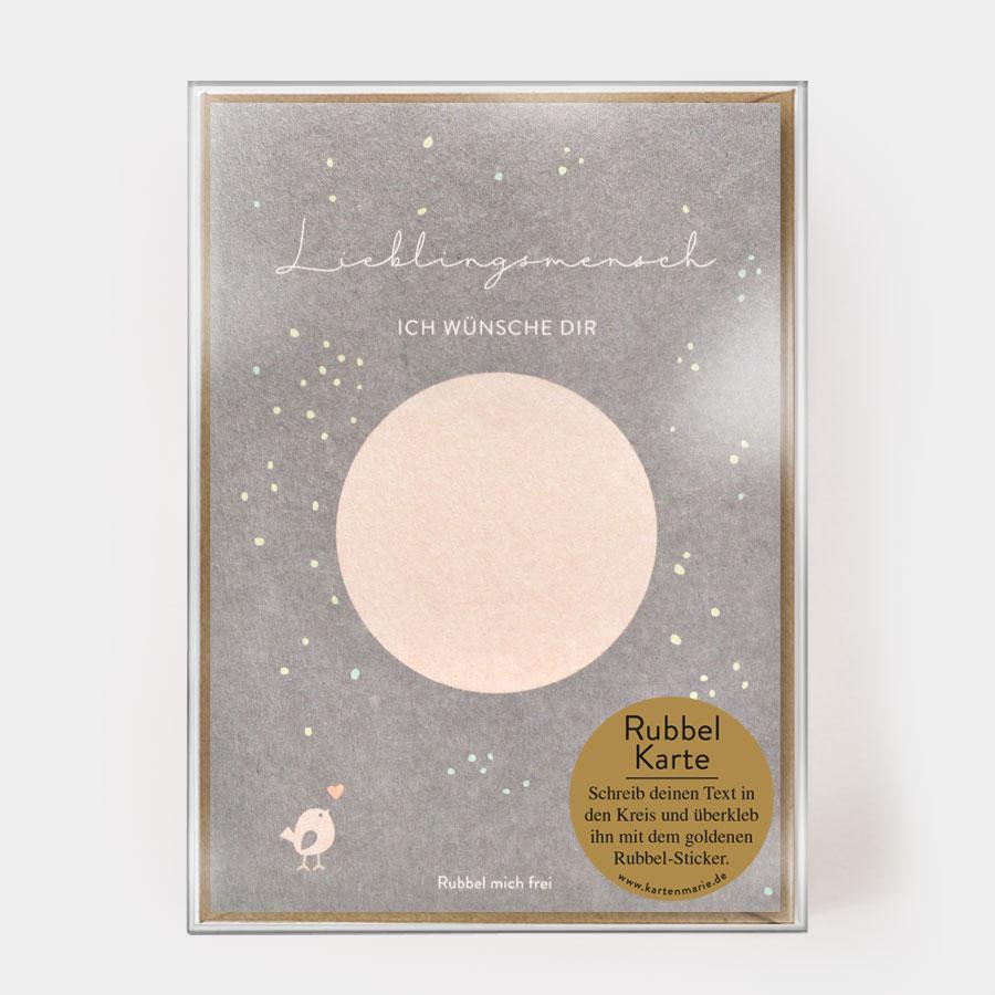 """Rubbelkarte - """"Lieblingsmensch"""" - Kartenmarie"""