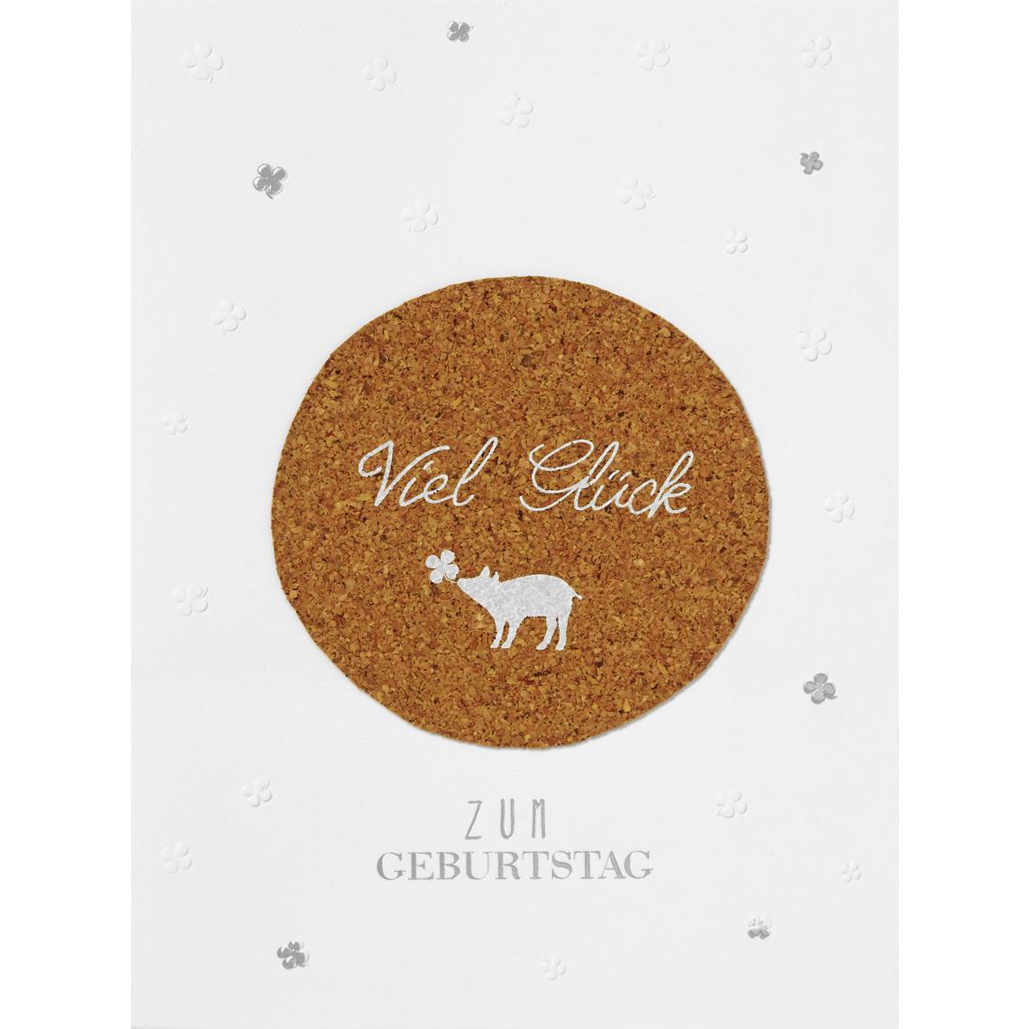 "Geburtstagskarte - Korkkarte ""Viel Glück"" - räder"