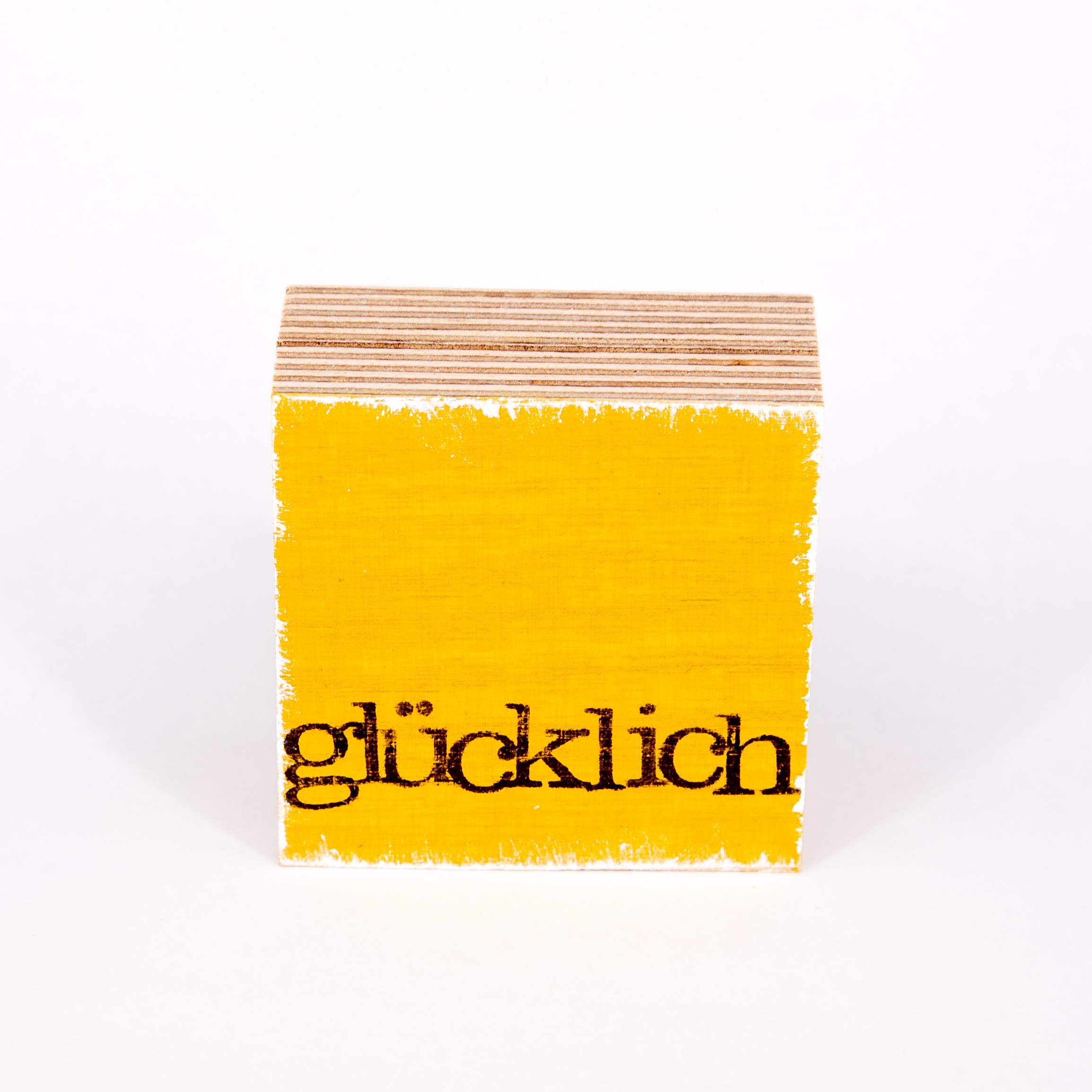 "Mini Textplatte - ""glücklich"" - iopla"
