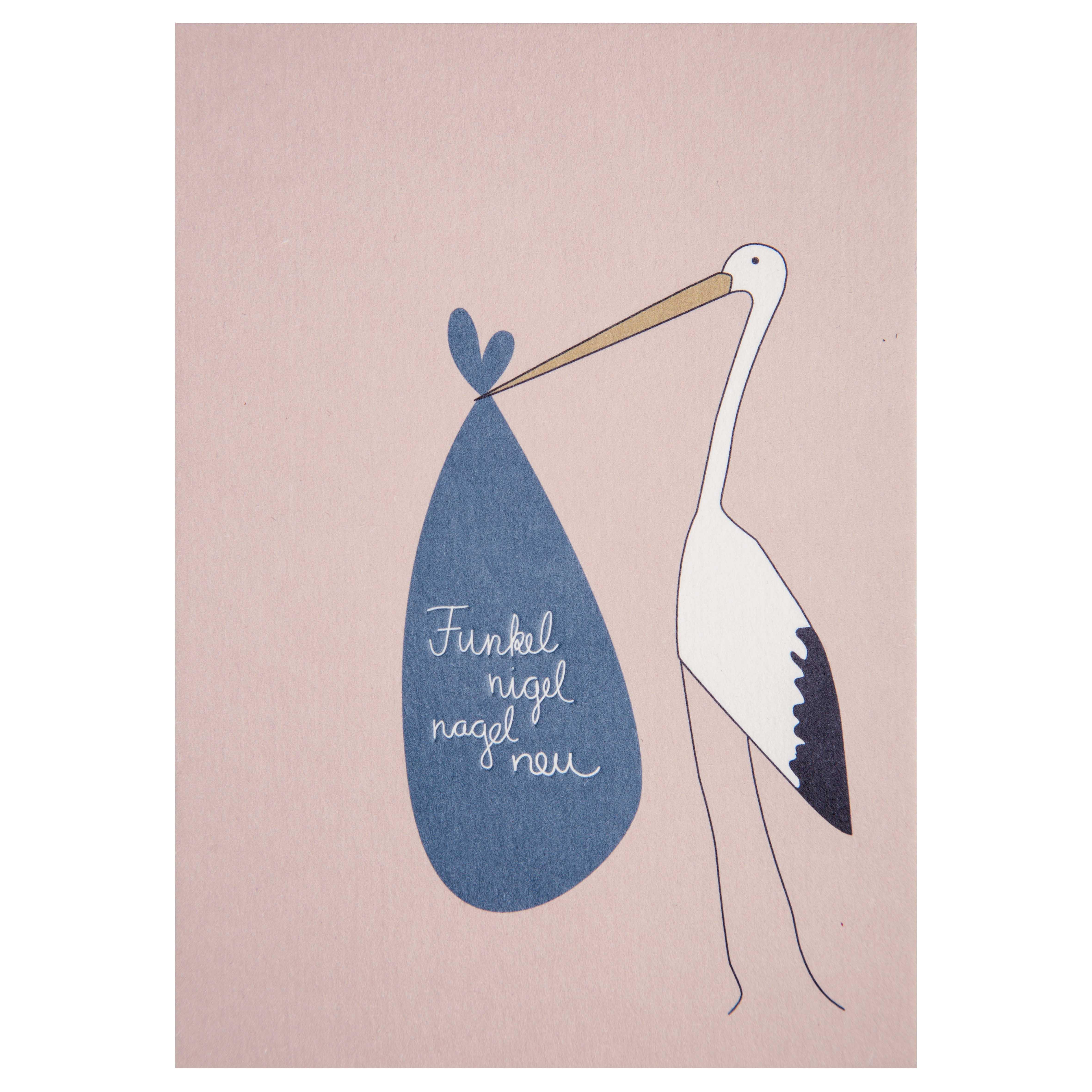 Baby Postkarte - Storch - räder