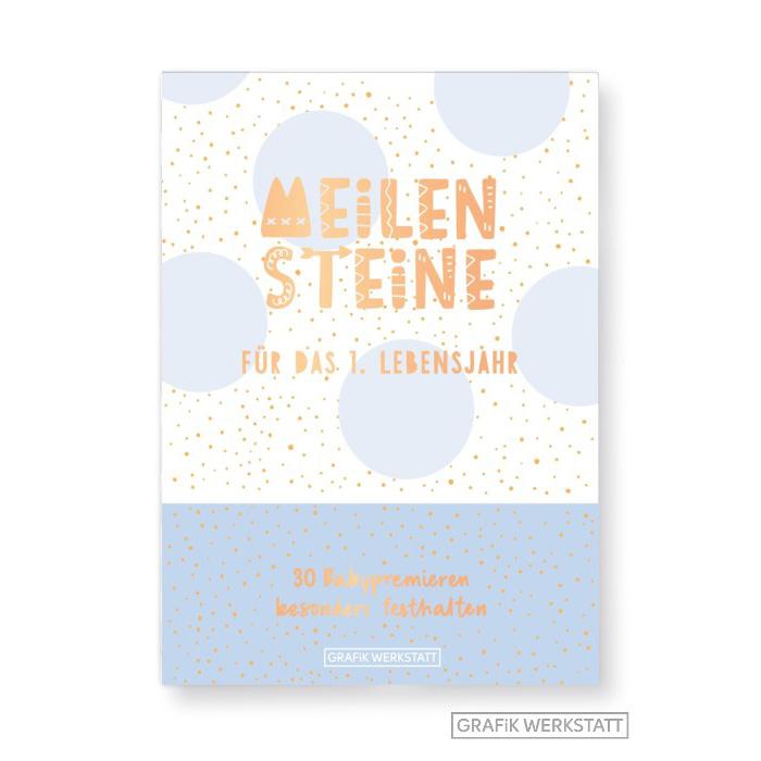 Meilenstein-Box für das 1. Lebensjahr (Junge) - Grafik Werkstatt