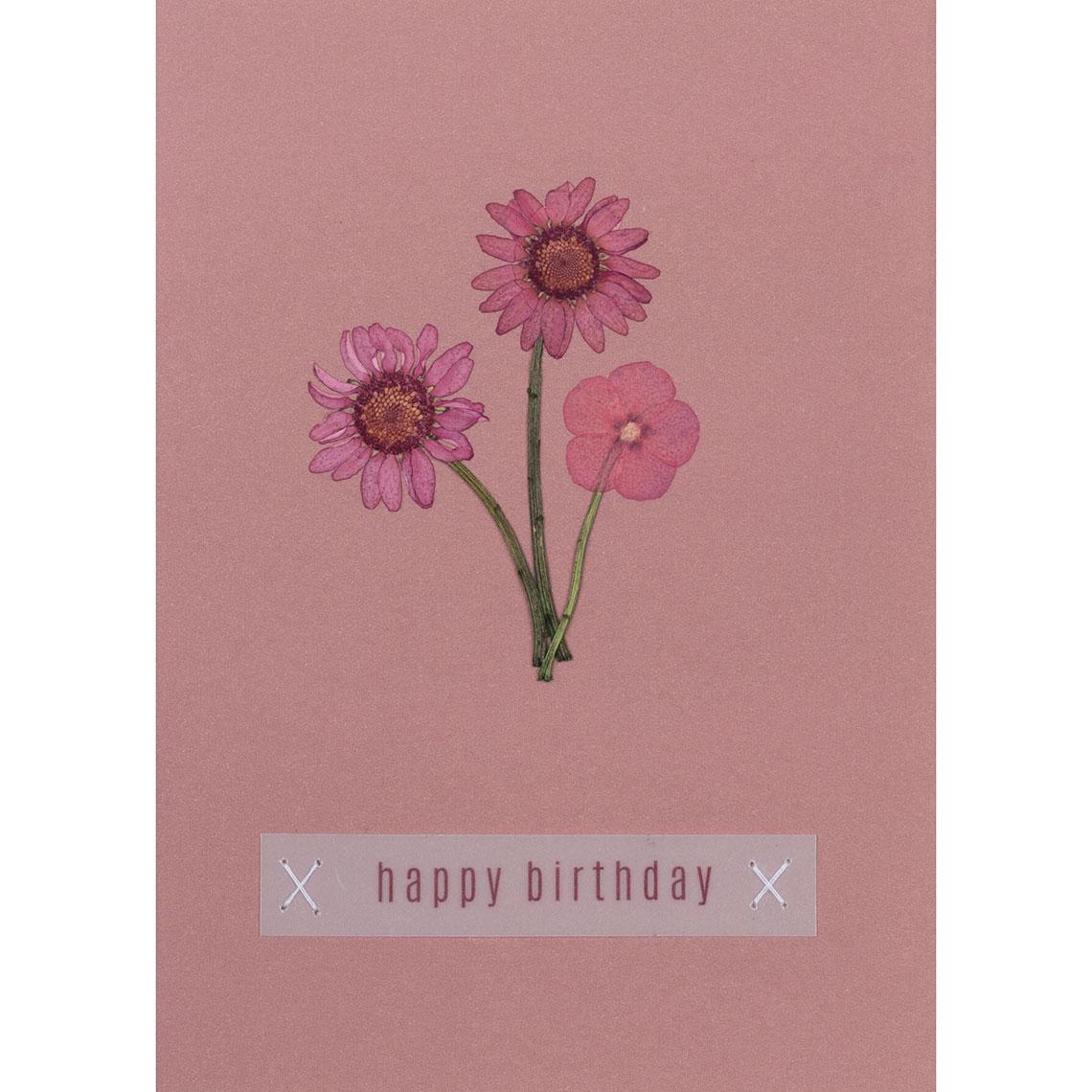 Blumengruß Glückwunschkarte - Happy Birthday - räder