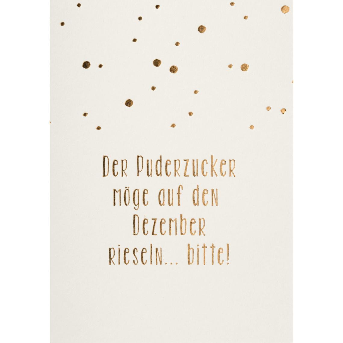 """Weihnachtspostkarte """"Der Puderzucker möge auf den Dezember rieseln ... Bitte!"""" - räder (Xmas)"""