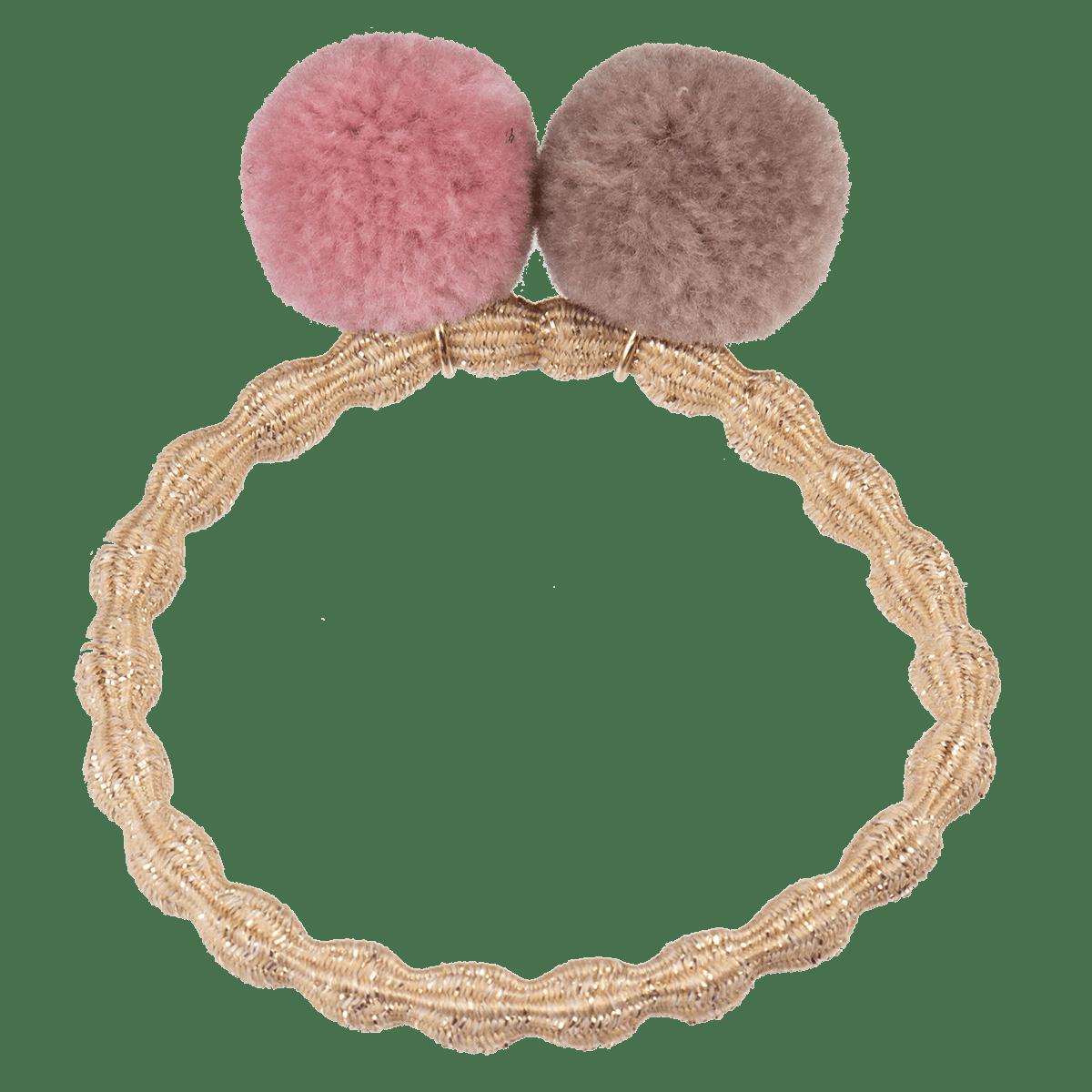 Haargummi Pom Pom- Beige glitter dusty rose 5215 - KKNEKKI
