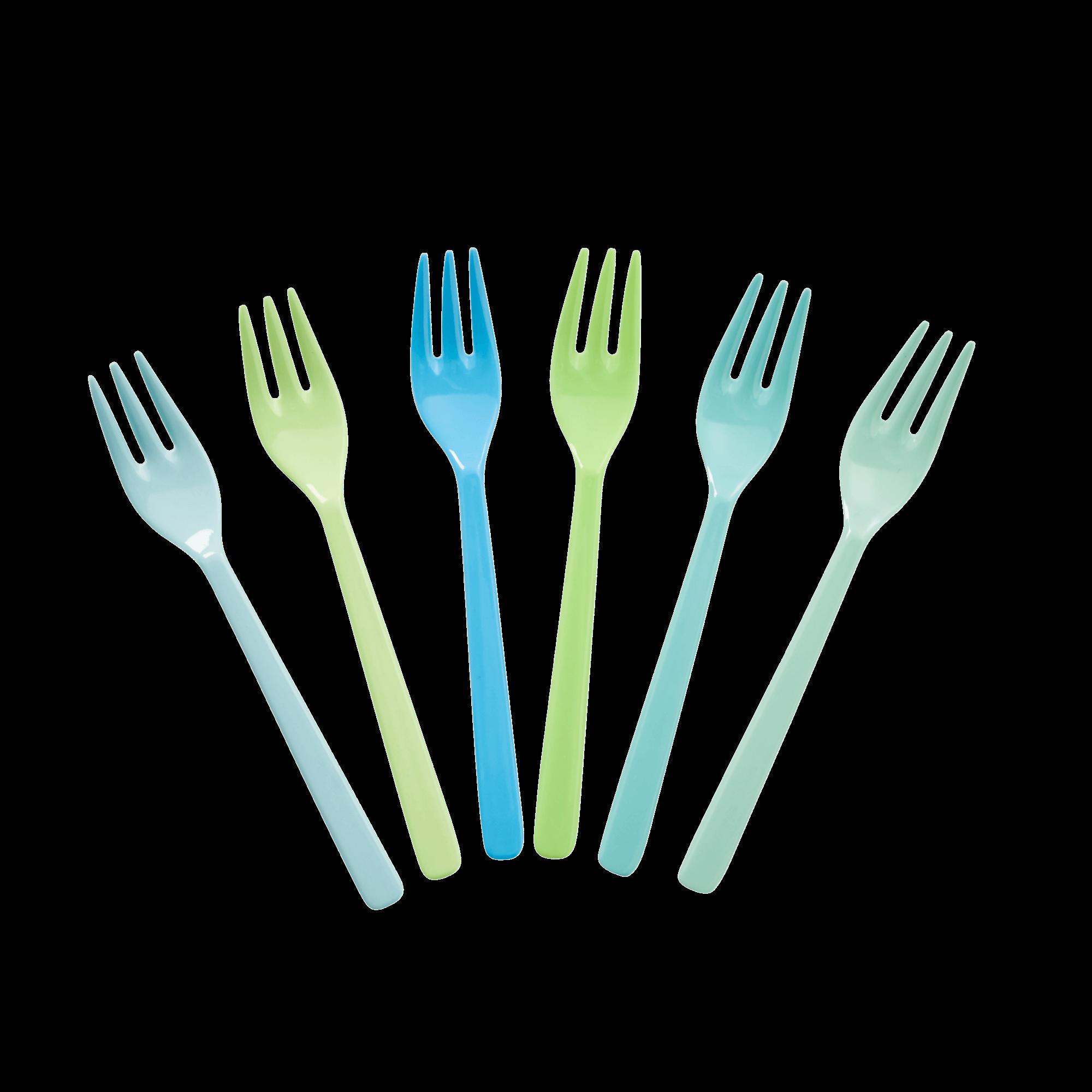 Melamine Kuchengabeln - 6er Set - blau/grün - rice