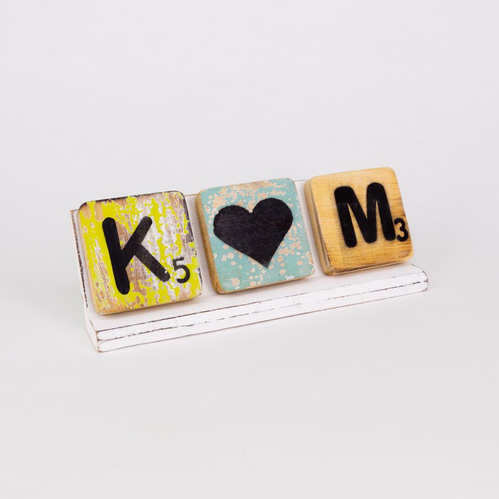 Holzleiste   Buchstabenbrett - 20 cm - weiß - für alle Holzbuchstaben und Holzzeichen im Scrabble-Style