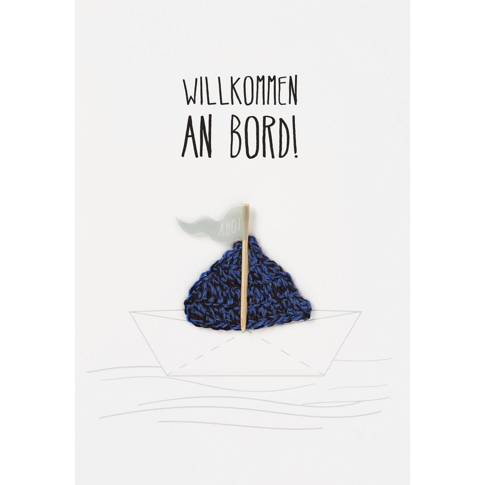 """Geburtskarte - Baby Karte """"Wilkommen an Board"""" - räder"""