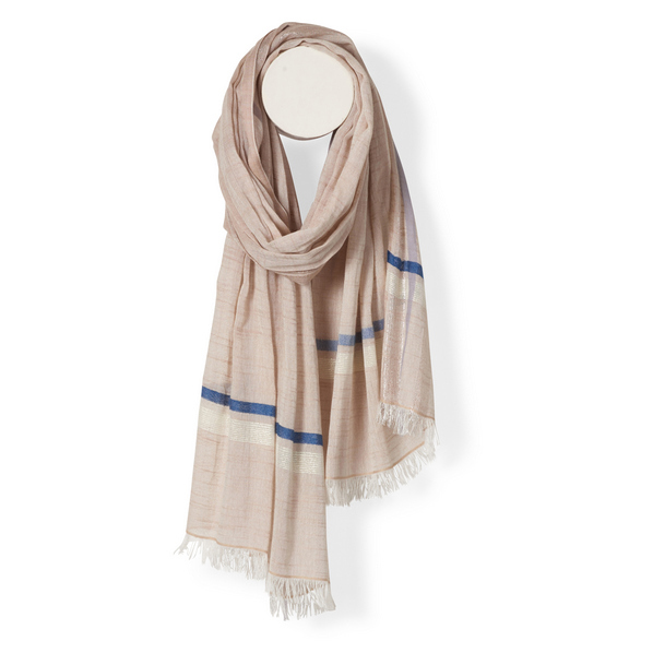 Halstuch | Schal - mit Bordüre - creme - Yam Yam Fashion