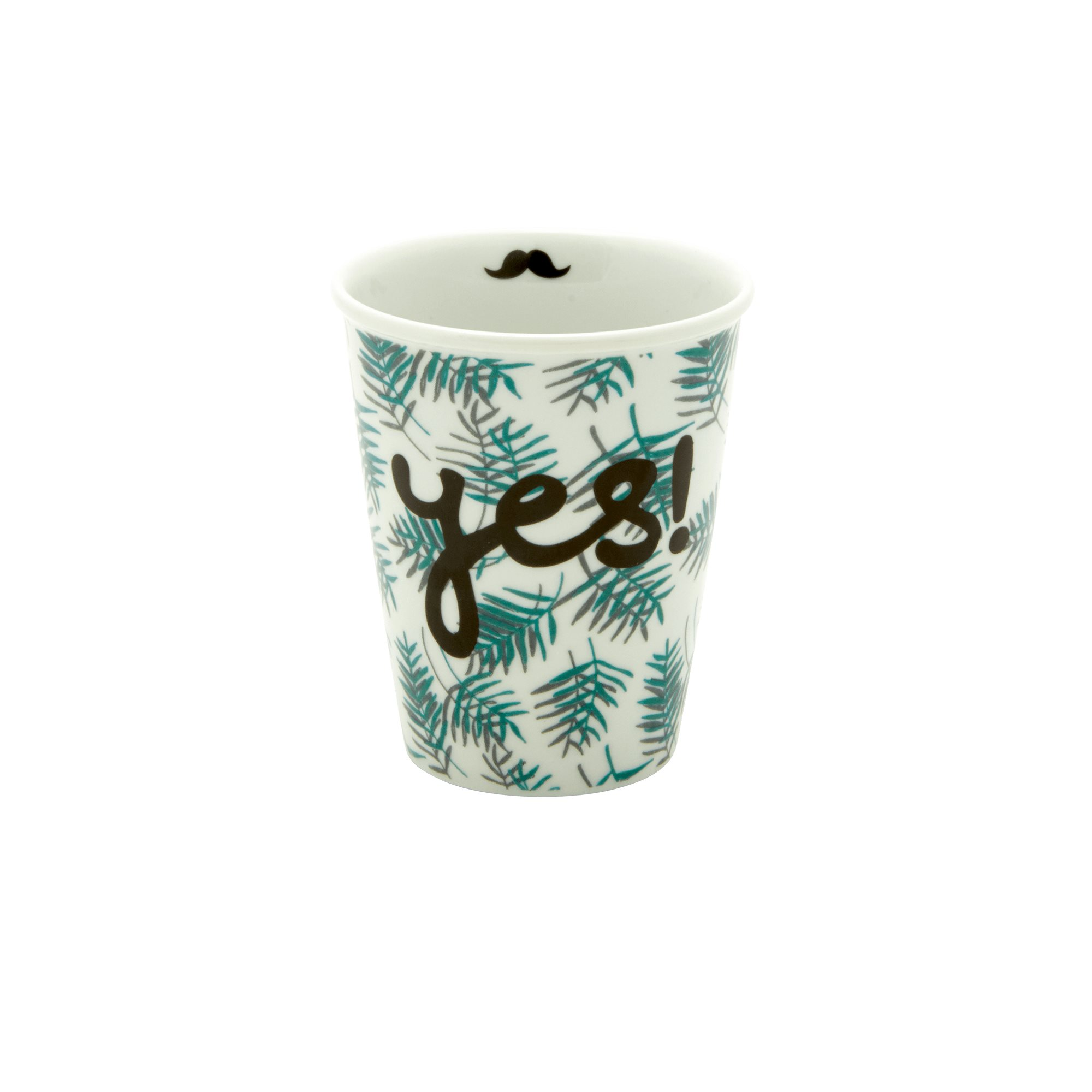 Porcelain Cup - Palm Leaves Print - rice