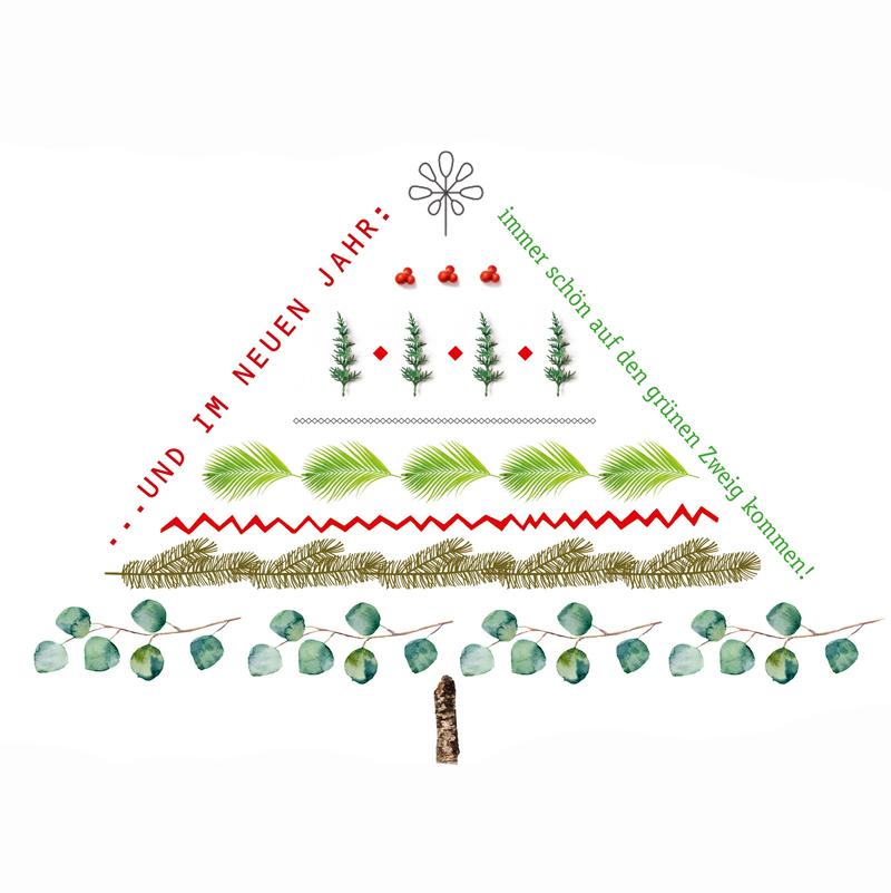 """Weihnachtspostkarte - """"... auf den grünen Zweig kommen"""" - The Buttique"""