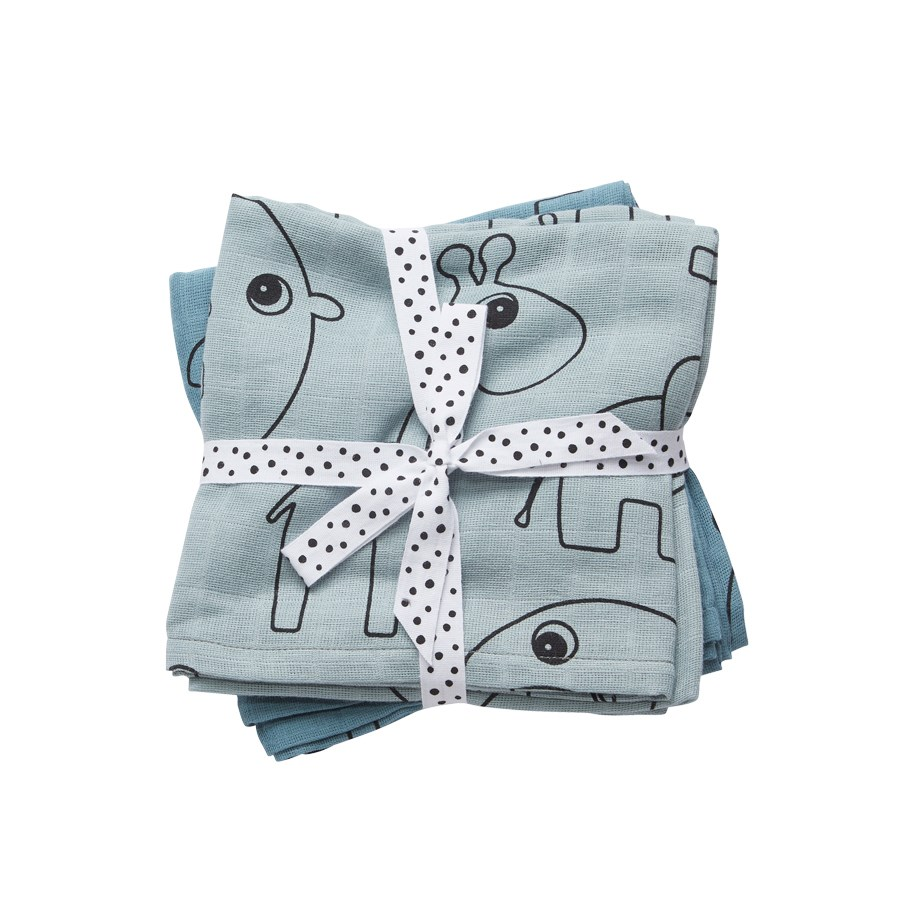 Pucktücher blau - Swaddle - 2-pack - Contour blue - Done by Deer