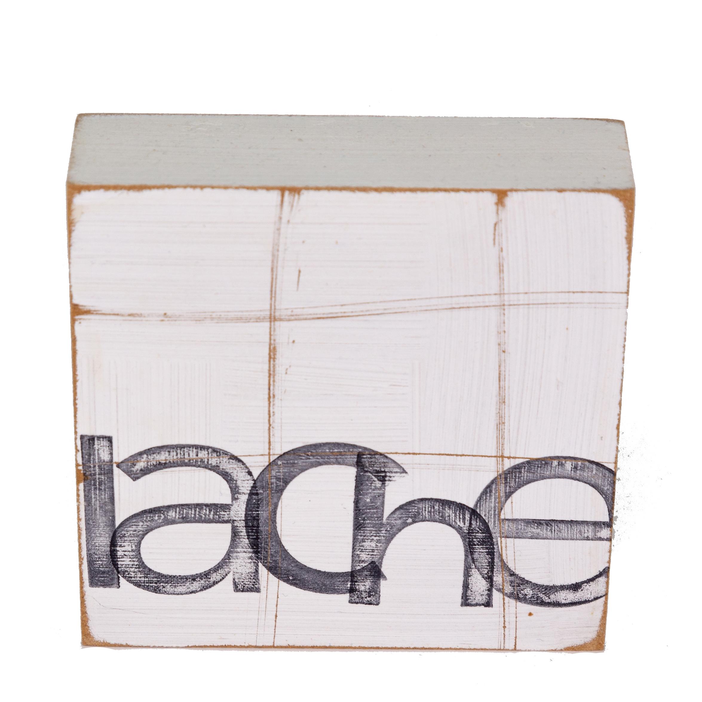 Textplatte aus Holz - lache