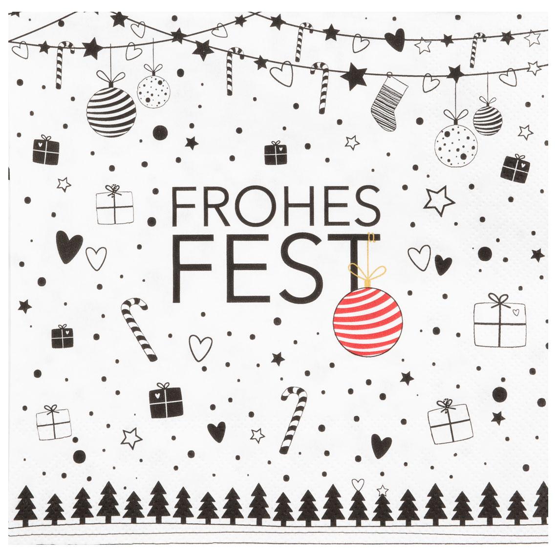 """Papierservietten """"Frohes Fest"""" - räder (Xmas)"""