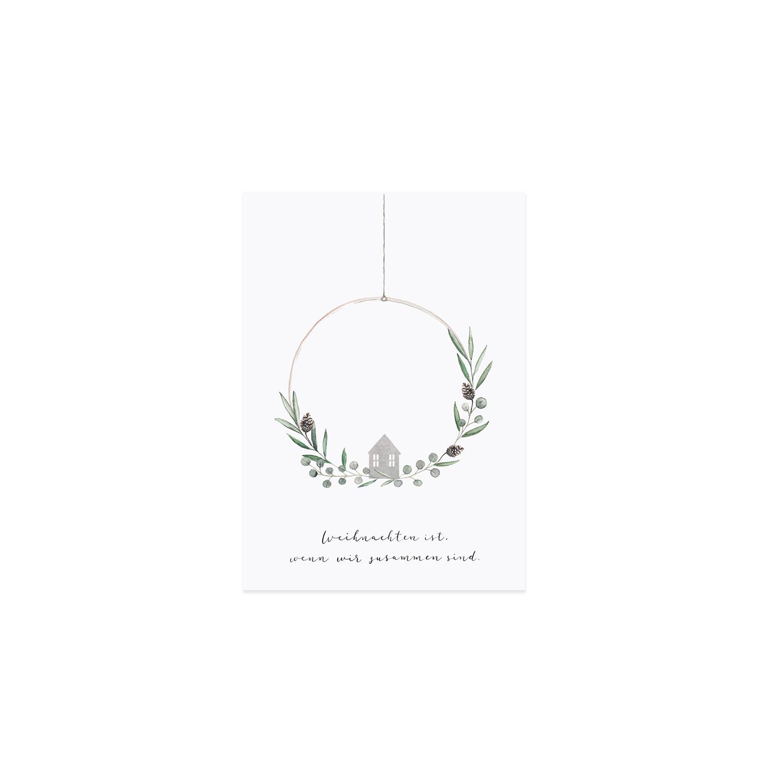 Weihnachtspostkarte - Weihnachten ist ... - Eulenschnitt