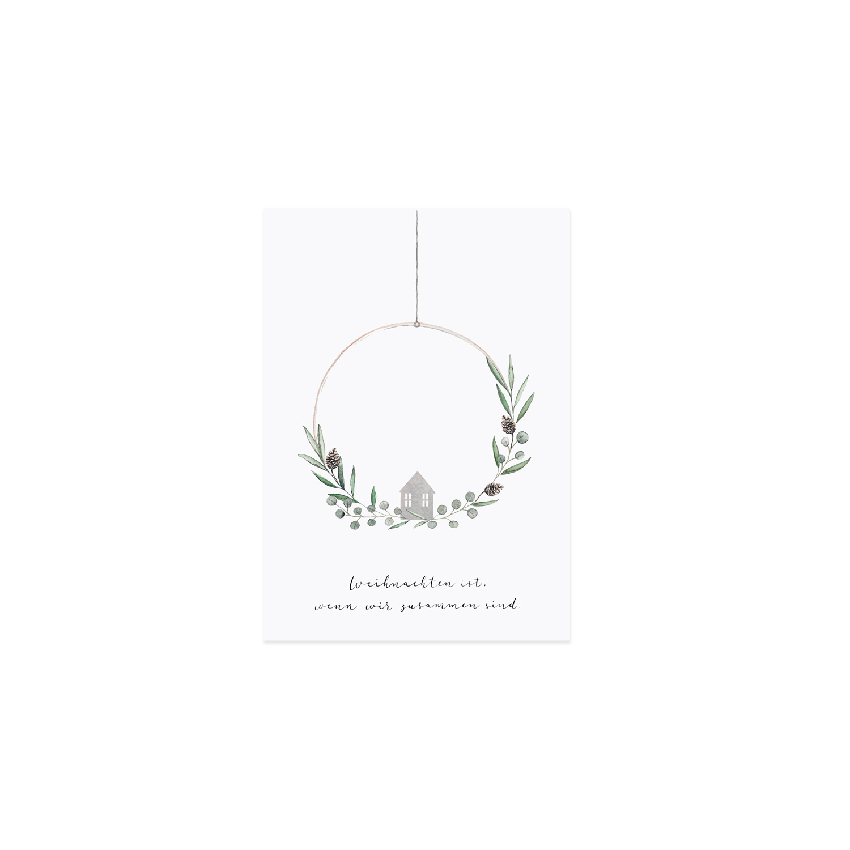 Postkarte - Weihnachtskranz - Eulenschnitt