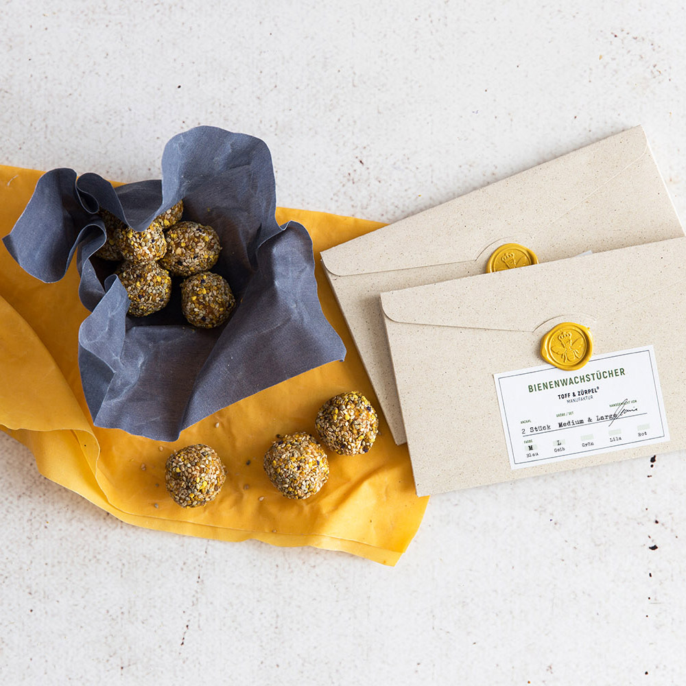 Bienenwachstücher - Medium + Large - gelb und blau - Toff & Zürpel