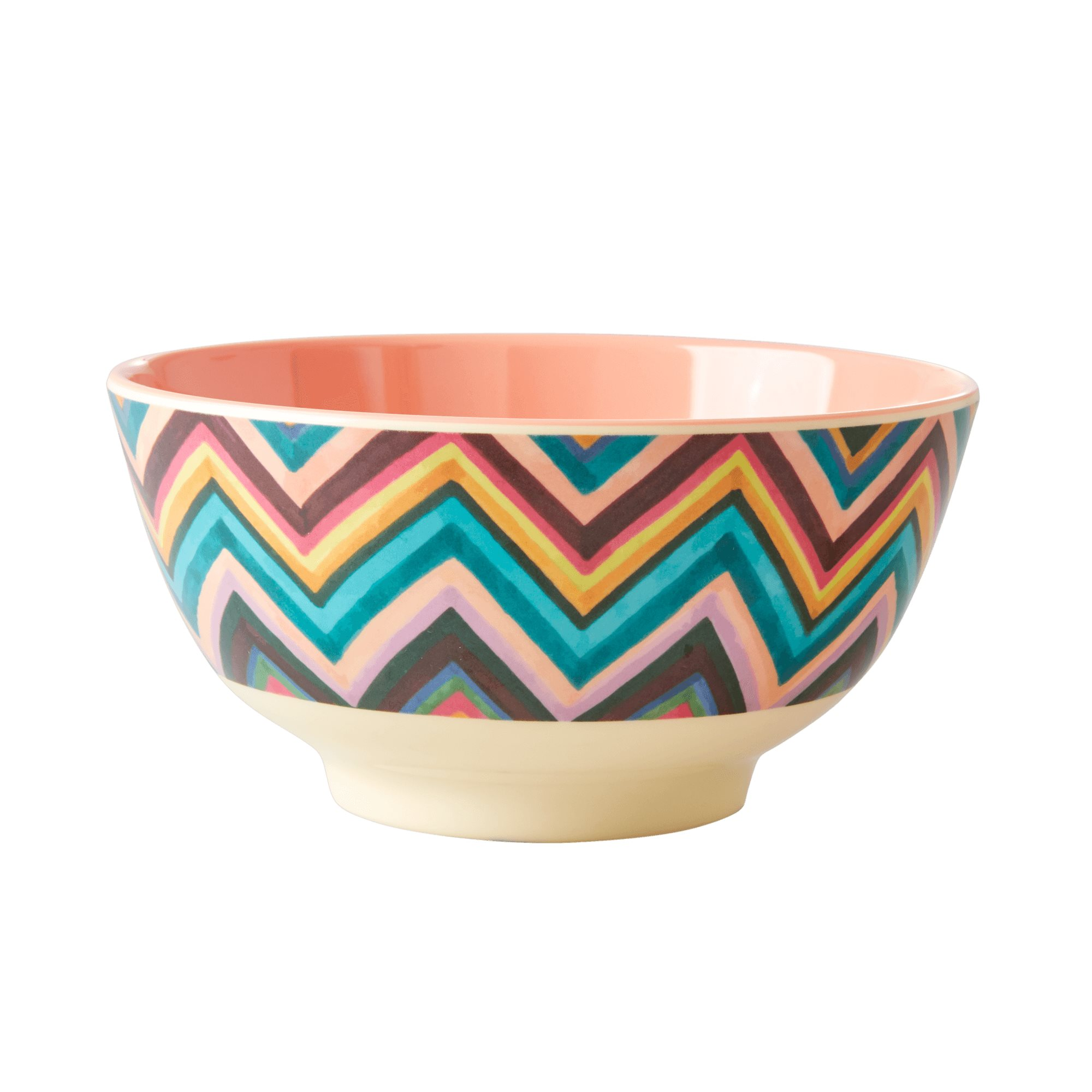 Medium Melamine Bowl - ZigZag Print - rice