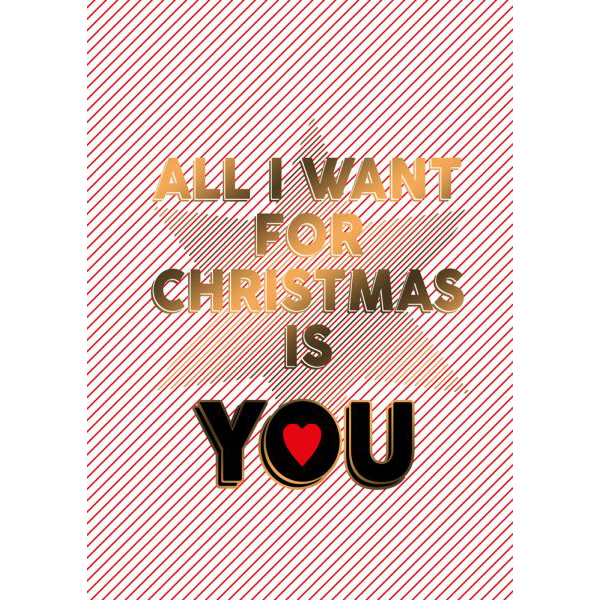 "Weihnachtspostkarte - ""All I want for Christmas is you"" - The Buttique"