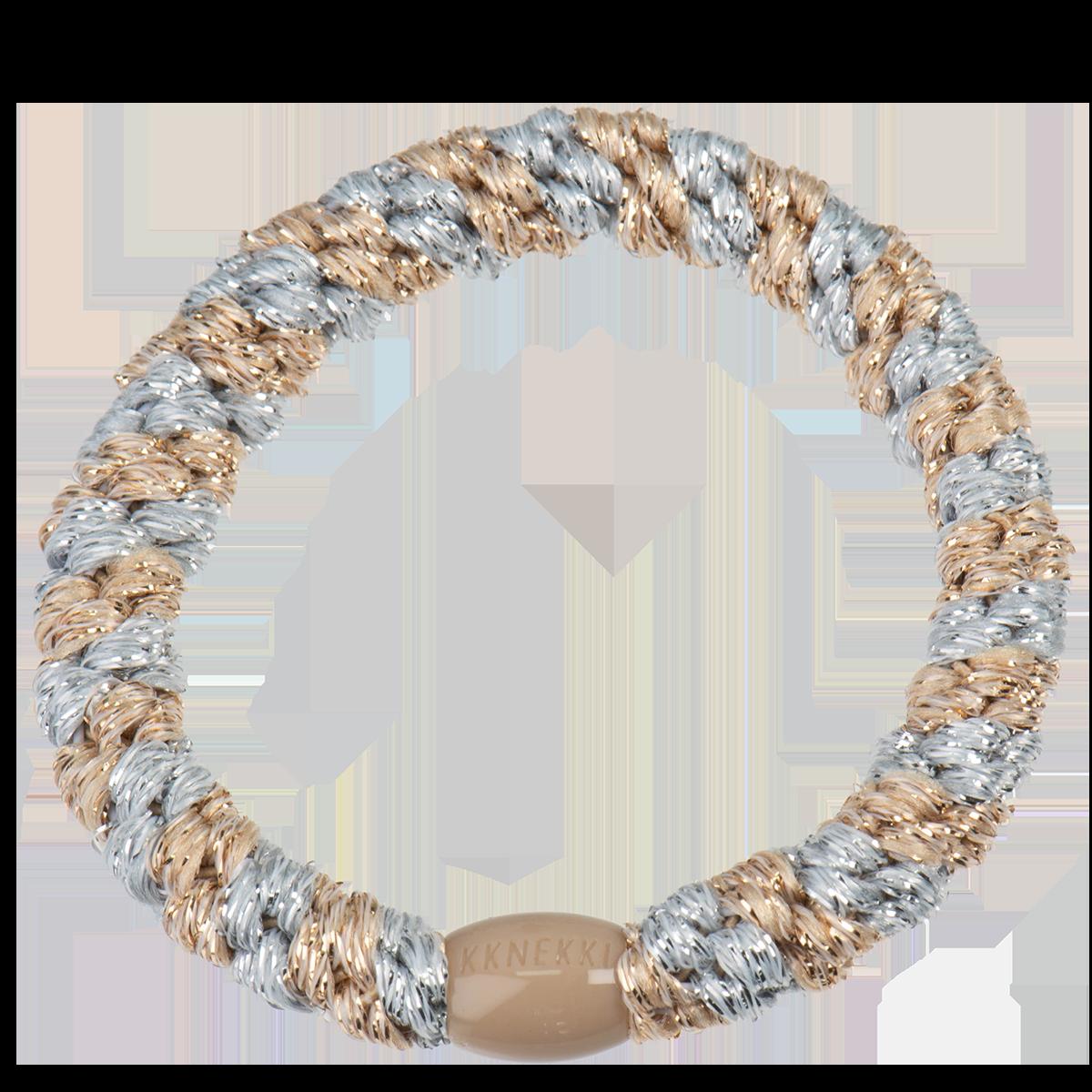 Haargummi / Armband - Silver-beige glitter stripe 5122 - KKNEKKI