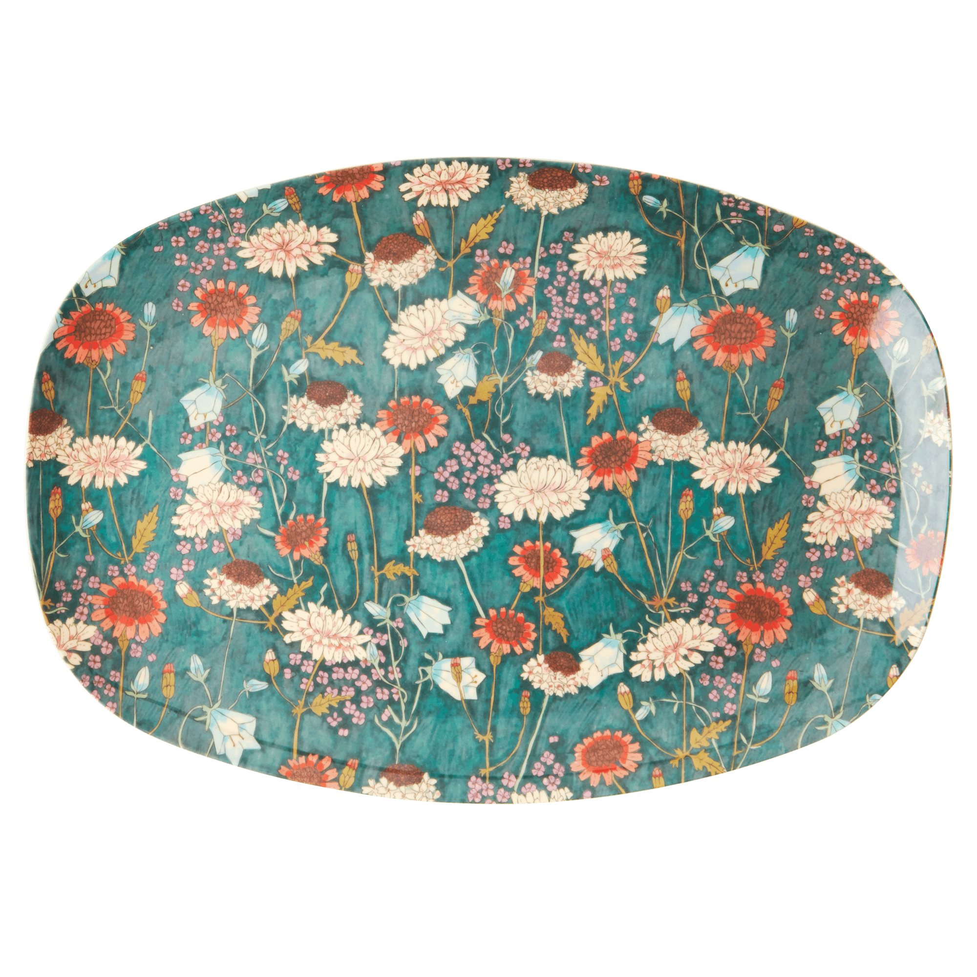 Melamin Platte - Fall Flower Print - rice