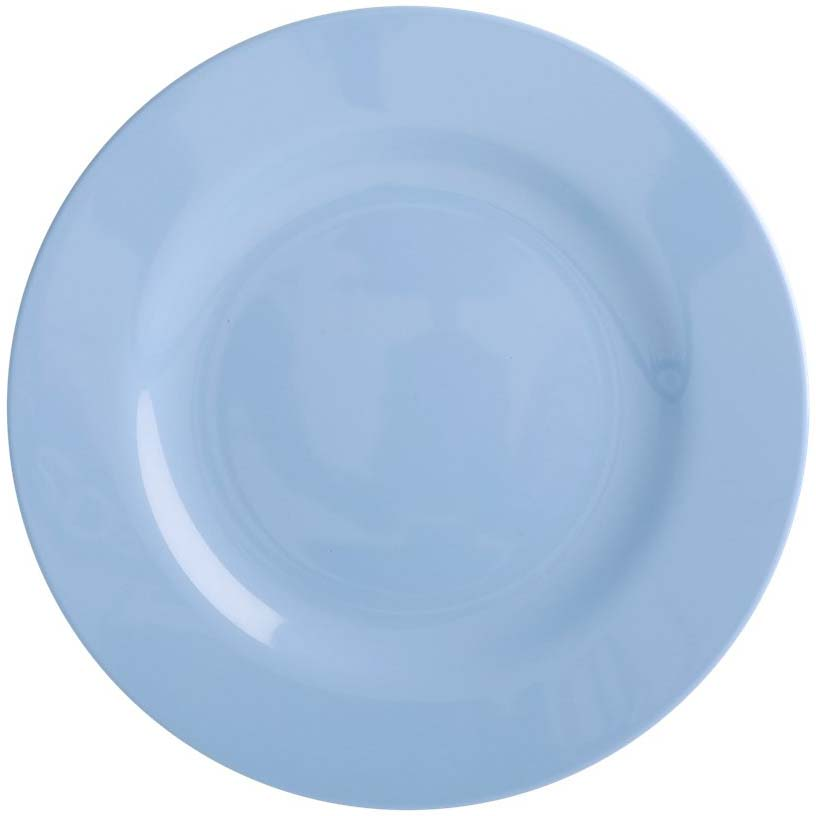 Round Melamine Lunch Plate - Pigeon blue - rice
