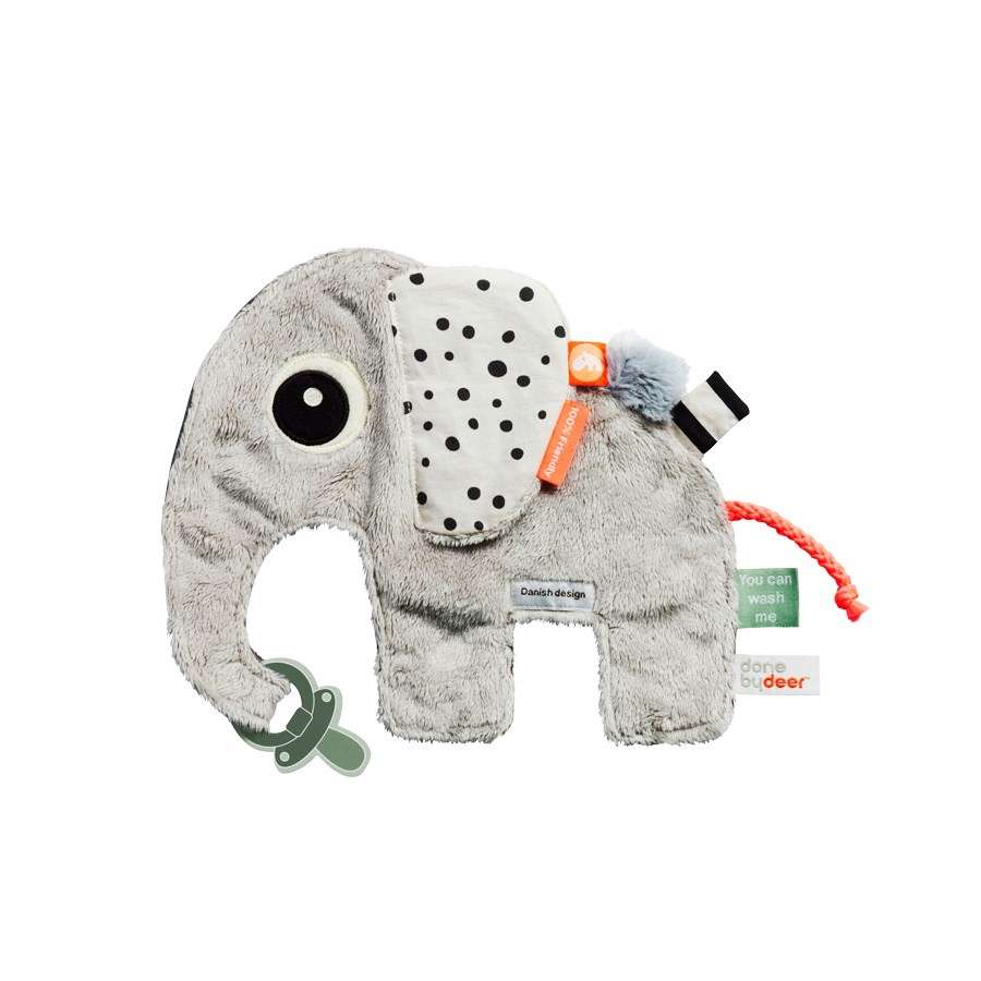 Schmusetuch und Schnullerkette - Elefant - Cozy friend - Elphee - grey - Done by Deer