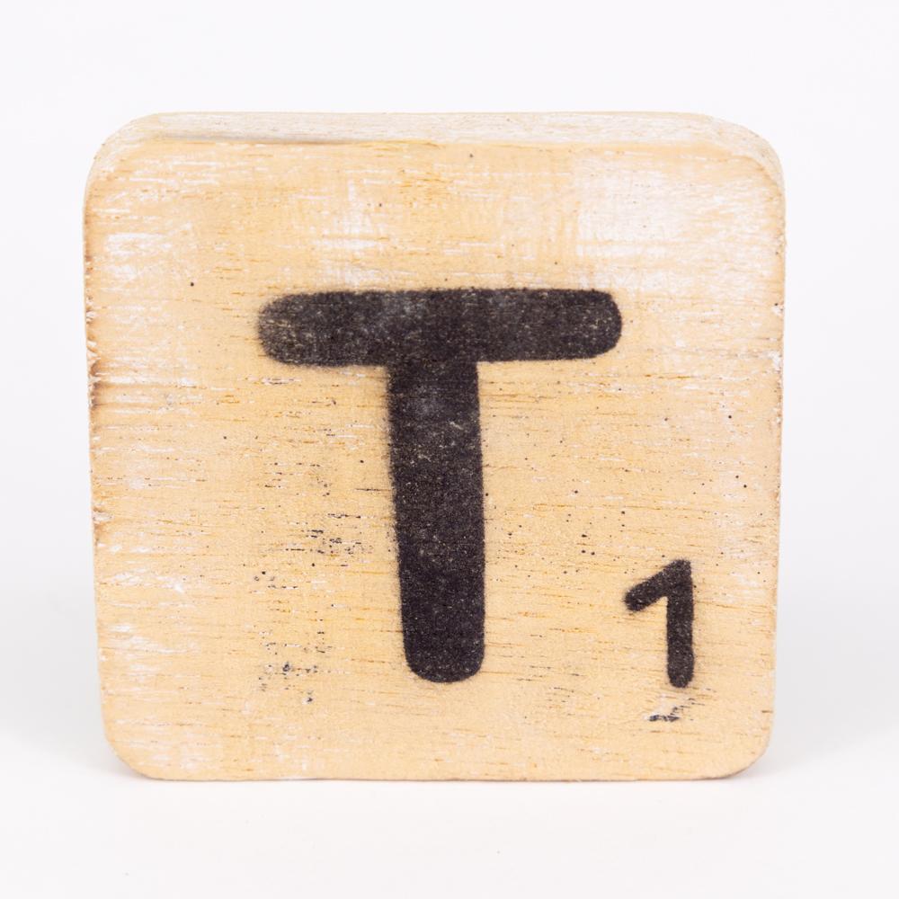 Holzbuchstabe - T - im Scrabble-Style