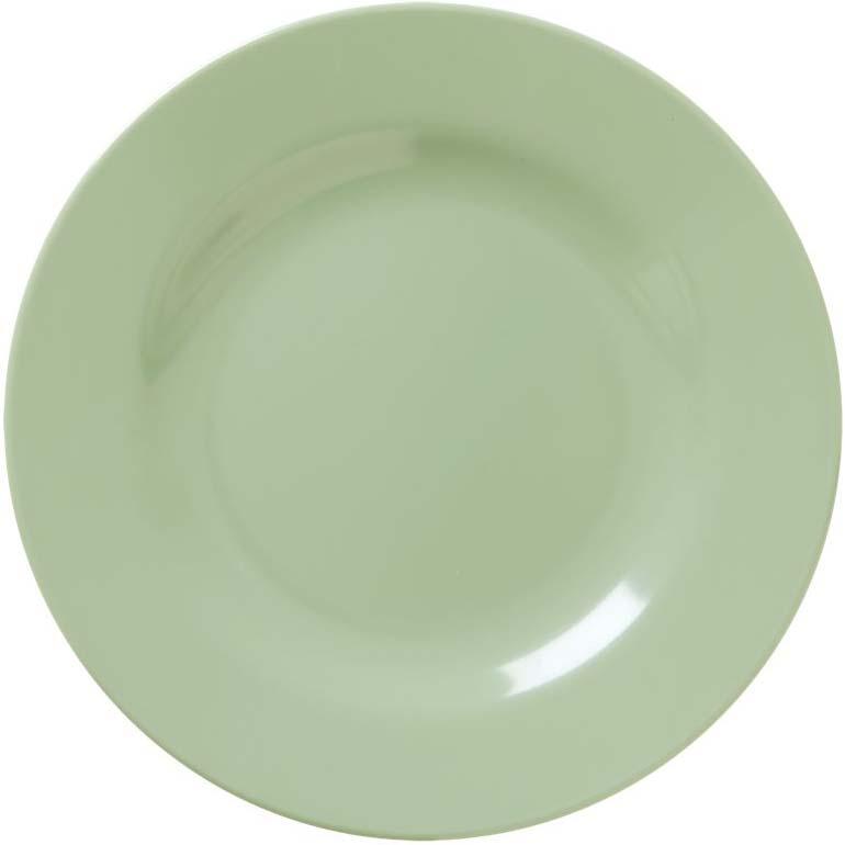 Round Melamine Lunch Plate - Khaki - rice