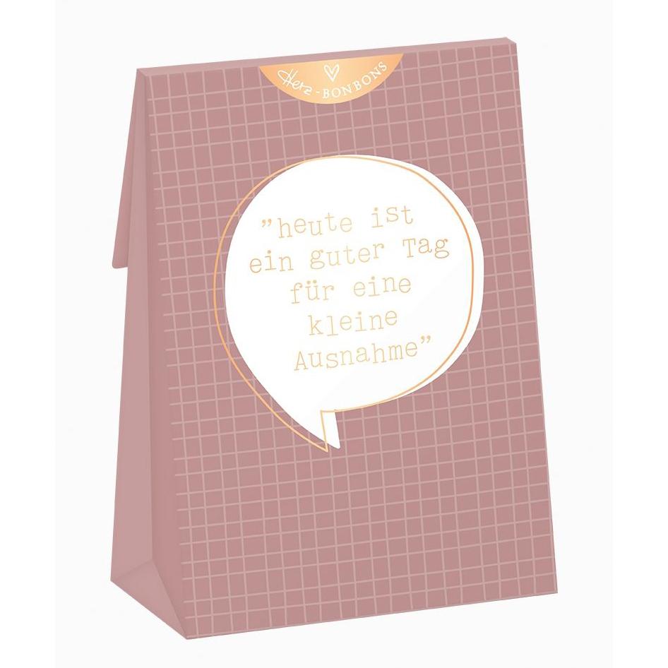 Herz-Bonbons mit Himbeer Geschmack - Heute ist ein guter Tag für eine kleine Ausnahme - Grafik Werkstatt