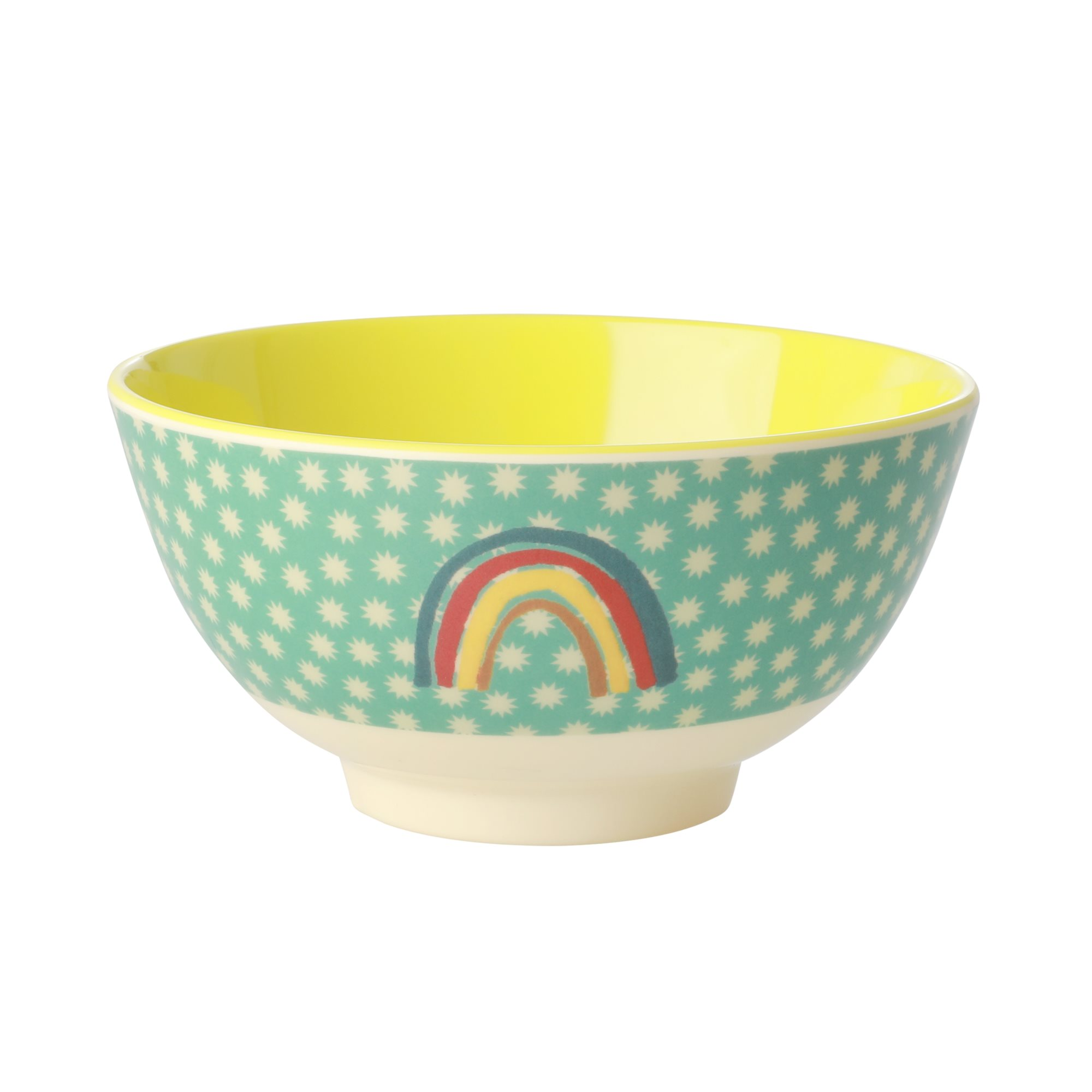 Medium Melamine Bowl - Rainbow and Stars Print - rice