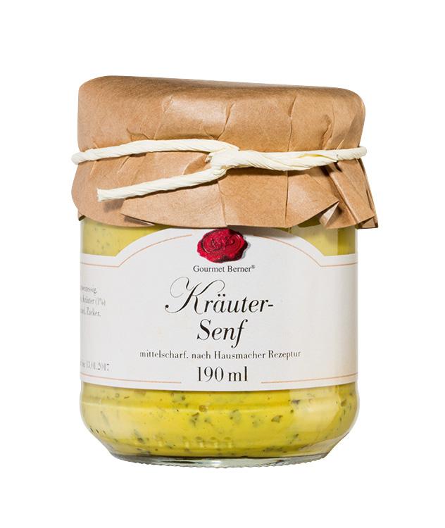 Kräuter Senf  -  190ml Glas - Gourmet Berner