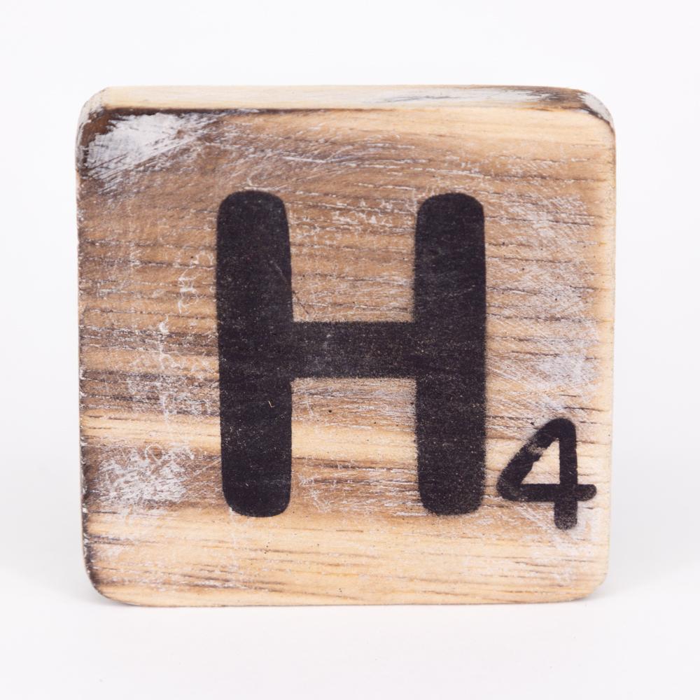 Holzbuchstabe - H - im Scrabble-Style