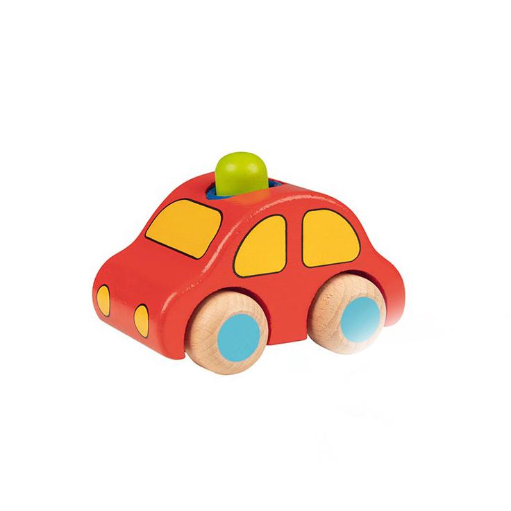 Holzauto rot mit Hupe - goki