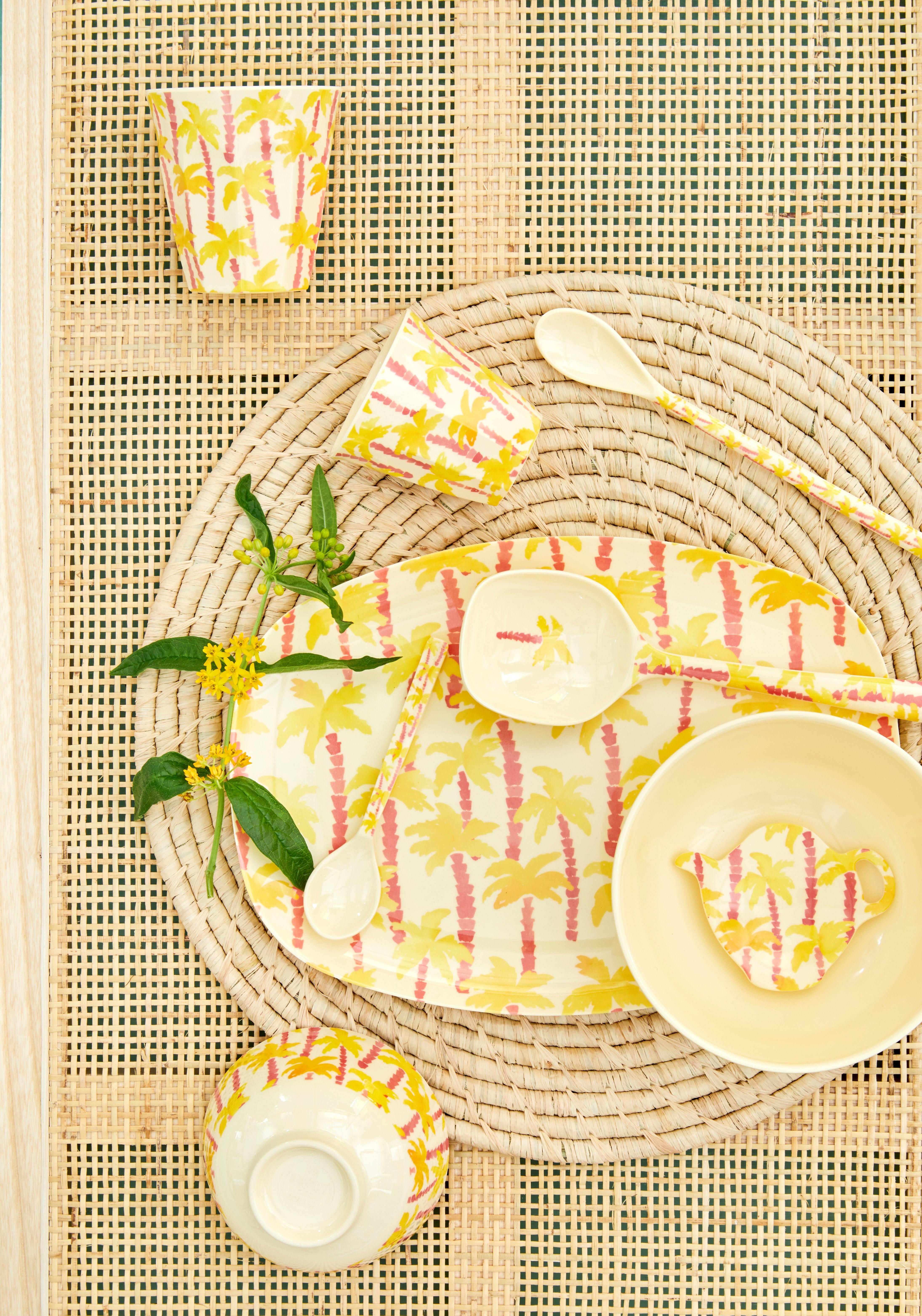 Löffel lang - Melamine Latte Spoon - Palm Tee Print - rice