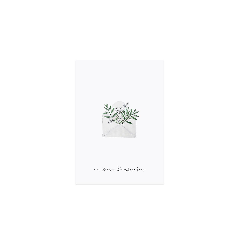 Postkarte - Blumenumschlag - Eulenschnitt