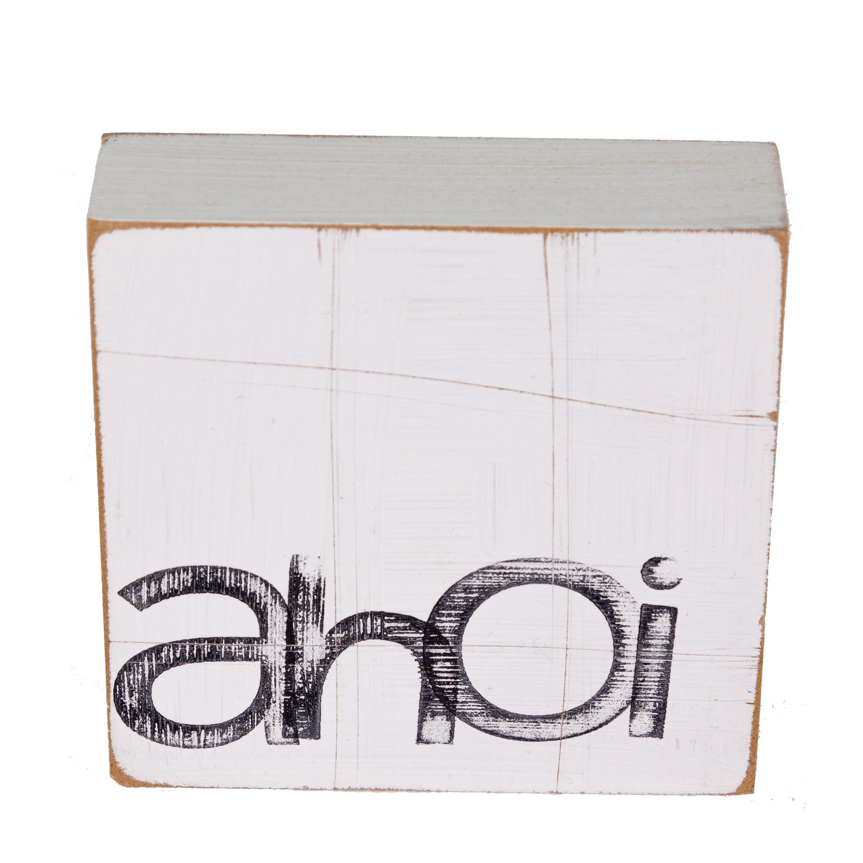 Textplatte aus Holz - ahoi
