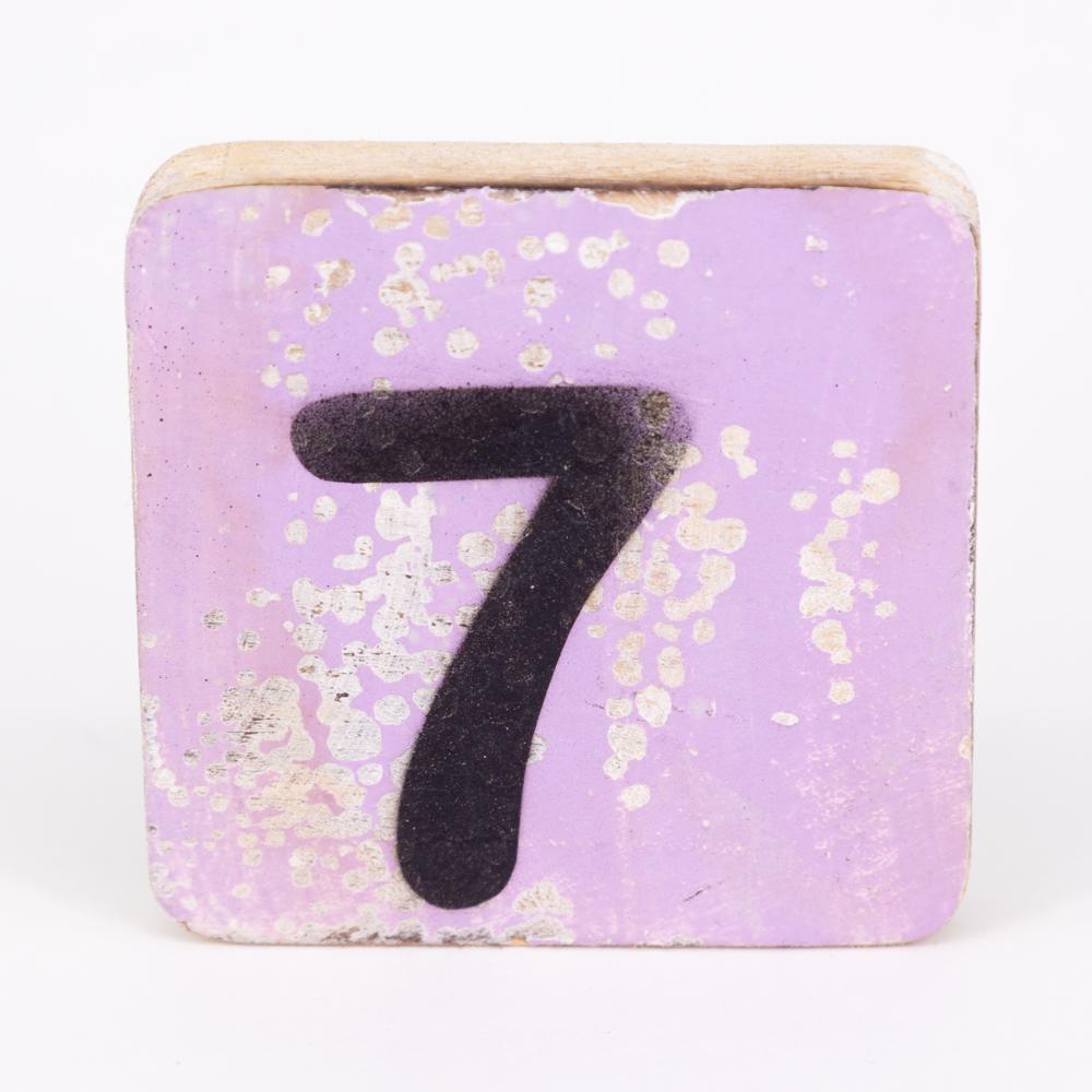 Holzzahl - 7 - im Scrabble-Style