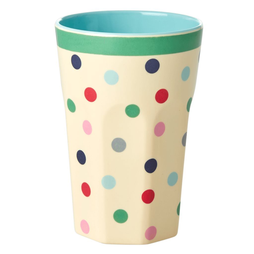 Large Melamine Cup - Dots print -rice