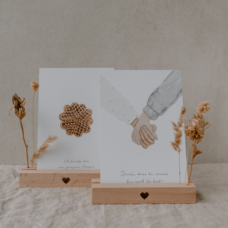 Karten- und Trockenblumenständer Herz- Eulenschnitt