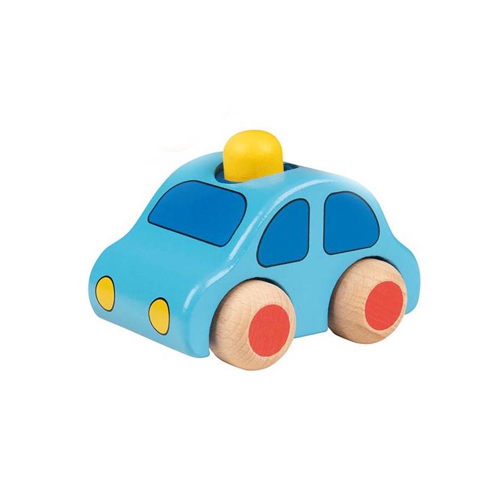 Holzauto hellblau mit Hupe - goki
